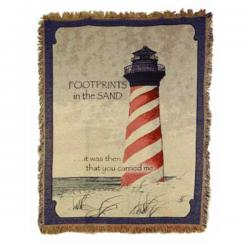 Footprints Lighthouse Tapestry Throw