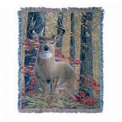 Deer in the Woods Tapestry Throw
