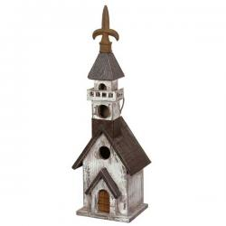 Black White Church Birdhouse