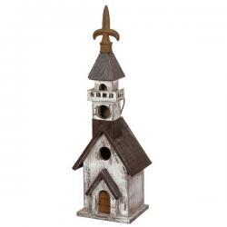 Black White Church Birdhouse